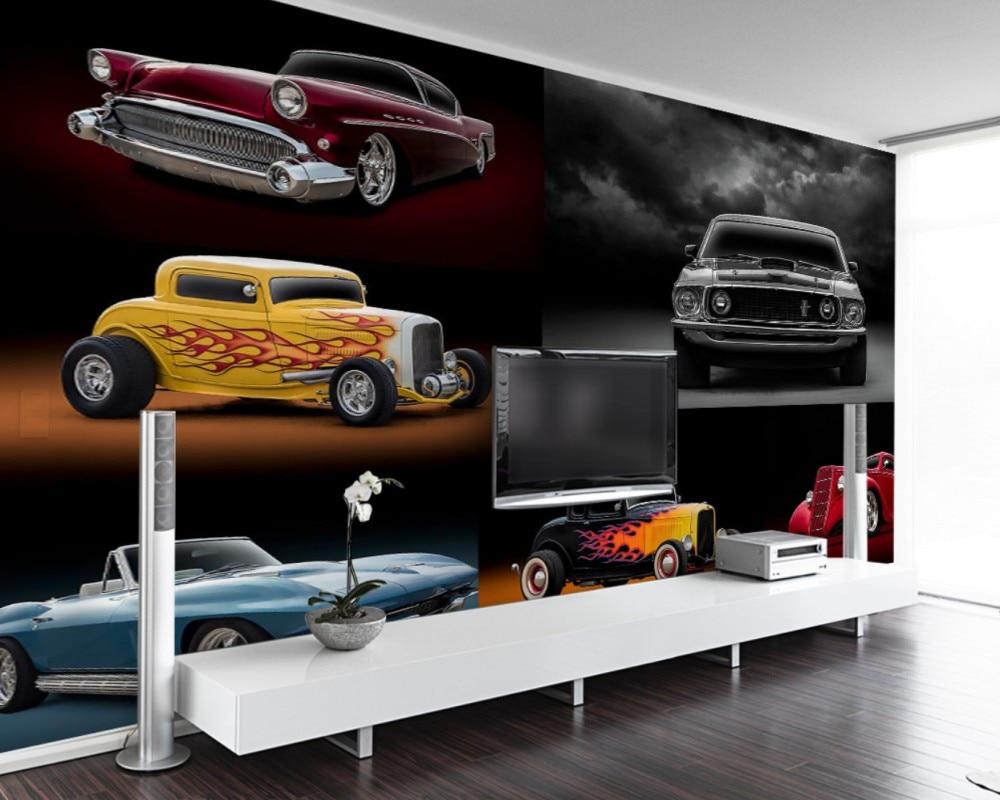 Free Shipping Cool Retro Retro Luxury Sports Car Auto Tool Wall Custom 3D Restaurant Hotel Decoration Mural Bar Cool Wallpaper