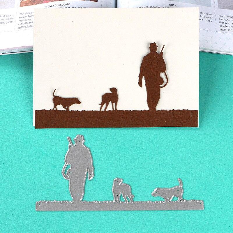 DUOFEN METAL CUTTING DIES hunting huntsman and dogs stencil DIY Scrapbook Paper Album 2018 new