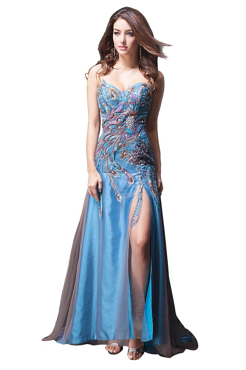 Élégant Sexy fente robes de bal chérie robes de soirée robe hors épaule étage longueur broderie Caystal 2019 réel échantillon - 2