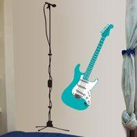D430 New Blue Guitar Music Microphone Wall Decal Sticker Wall Art Home Decor