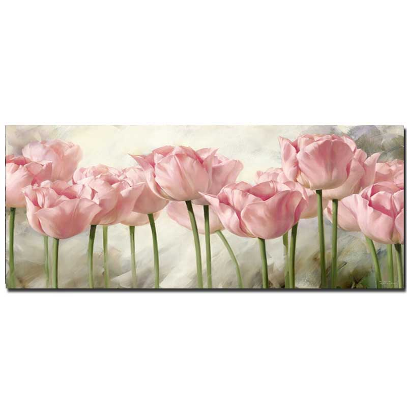 Hand Painted Abstract Pink Tulip Flower Canvas Oil Painting Tulip Wall Pciture Living Room Home Wall Decor Drop Shipping