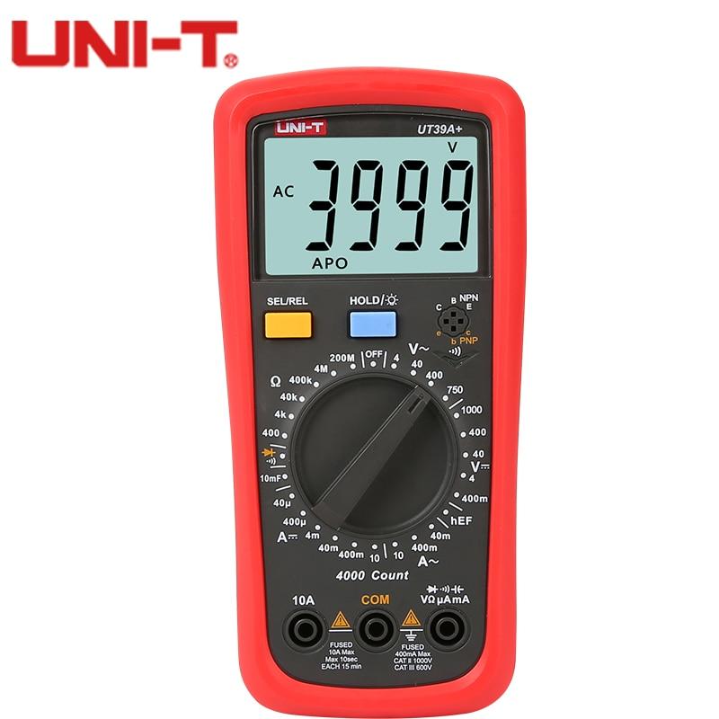 UNI-T UT39A/C + Capacitance multimeter Digital Multimeter AC/DC Voltmeter Tester Ammeter Resistance Capacitance Tester f47n multimeter pointer mechanical capacitance meter ammeter voltmeter pocket