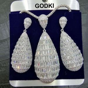 Image 2 - GODKI Luxe Water Drop Cubic Zirkoon Nigeriaanse Ketting Earring Sieraden Sets Voor Vrouwen Wedding Indiase Dubai Bruids Sieraden Sets
