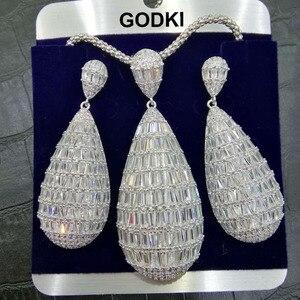 Image 2 - GODKI luksusowy kropla wody Cubic cyrkon naszyjnik nigerii zestaw kolczyków dla kobiet ślub Indian Dubai zestawy biżuterii dla nowożeńców