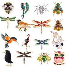 Натуральные животные, ювелирная брошь на булавке, пчела, стрекоза, насекомое, попугай, птица, броши в форме жуков для женщин, брошь на булавке для костюма, подарок
