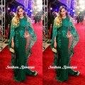 Red Carpet Celebrity vestido de noche con largo tul de encaje Wraps apliques de color verde oscuro de satén mujeres Prom viste los vestidos 2016