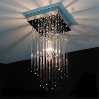 Modern Square LED K9 Crystal Ceiling Lights Stainless Steel Restaurant Corridor High Power Living Room Aisle