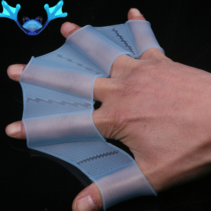 Frog Silicone Hand Swimming Fins Handcuffs Flippers Swim Palm Finger Webbed Gloves Paddle Improve Slip Swim Glove Equipment