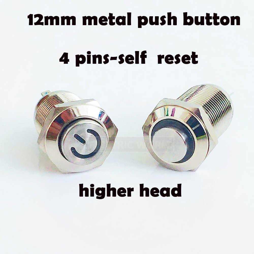 12 мм металлическая кнопка-переключатель панели отверстие мгновенная кнопка питания более высокая круглая головка 4 контакта светодиодный свет самосброс водонепроницаемый переключатель