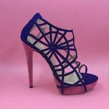 Women'S Shoes Blue Hollow Out High Heels Platforms Women Heel Sandals Sandalias Femininas Moda 2016 Chaussure Femme De Marque