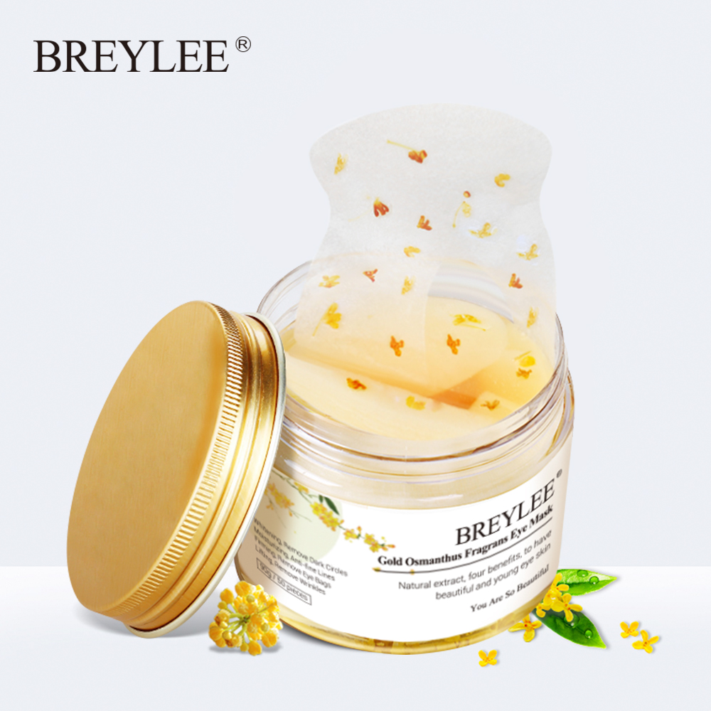 50PCS Gold Osmanthus Fragrans Eye Mask Collagen Gel Patch Face Skin Care Remove Dark Circles Lifting Firming Serum