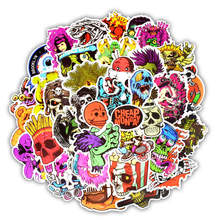 50Pcs Cool Punk Skull Vinyl Computer Stickers Spoof Horror Waterproof Sticker For Laptop Suitcase Car Phone Decoration Decals