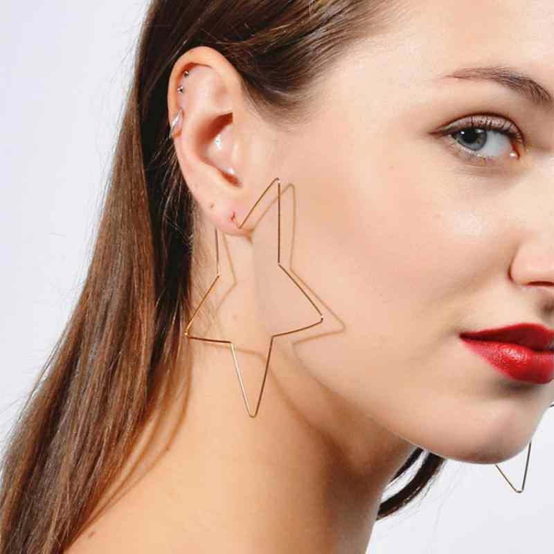 Korean Earings Fashion Jewelry Exaggerated Simple Five-pointed Star Hollow Metal Earrings Earrings For Women Statement Earrings