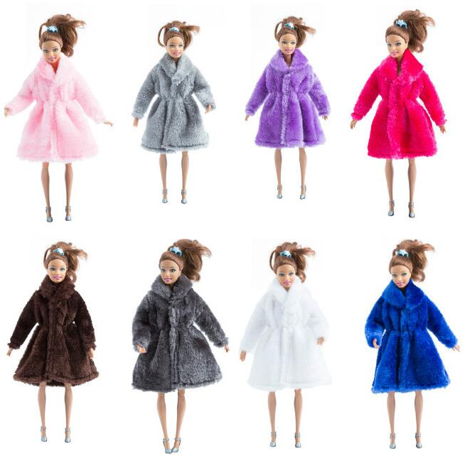15 Colors Fashion Handmade Clothes Dresses Grows Outfit Flannel coat for Barbie Doll dress for girls best gift High Quality