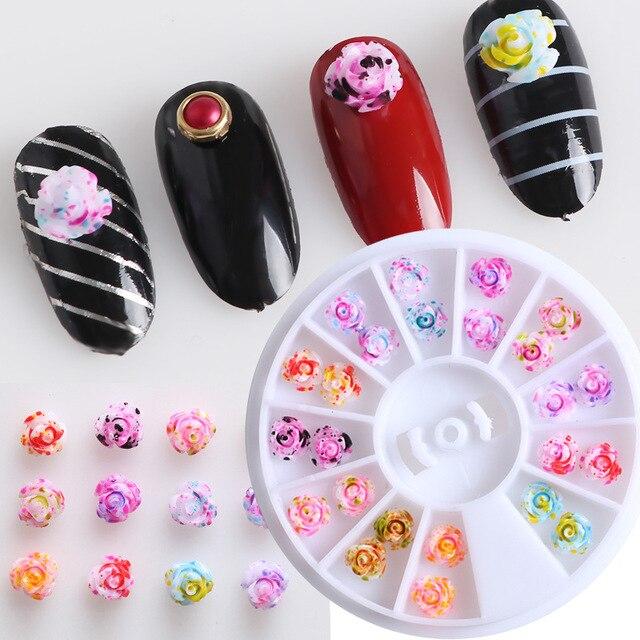 12 Color Rose Flower Nail Art Wheel Charms 3d Nail Tips Glitter Diy