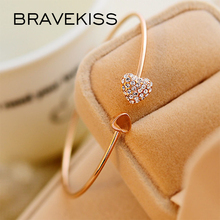 BRAVEKISS модный Регулируемый кристаллический двойной браслеты с сердечками Бант Размер браслета-манжеты браслет женский модный ювелирный подарок BPB0487