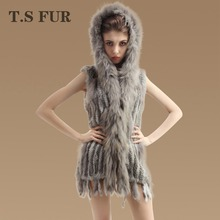 2016 New Genuine Rabbit Fur Vest With hood Real Raccoon Fur Waistcoats Women Long Knitted Rabbit