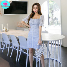 2019 summer new Korean temperament small fresh Slim stitching lace fashion dress female Zippers  Strapless Sheath