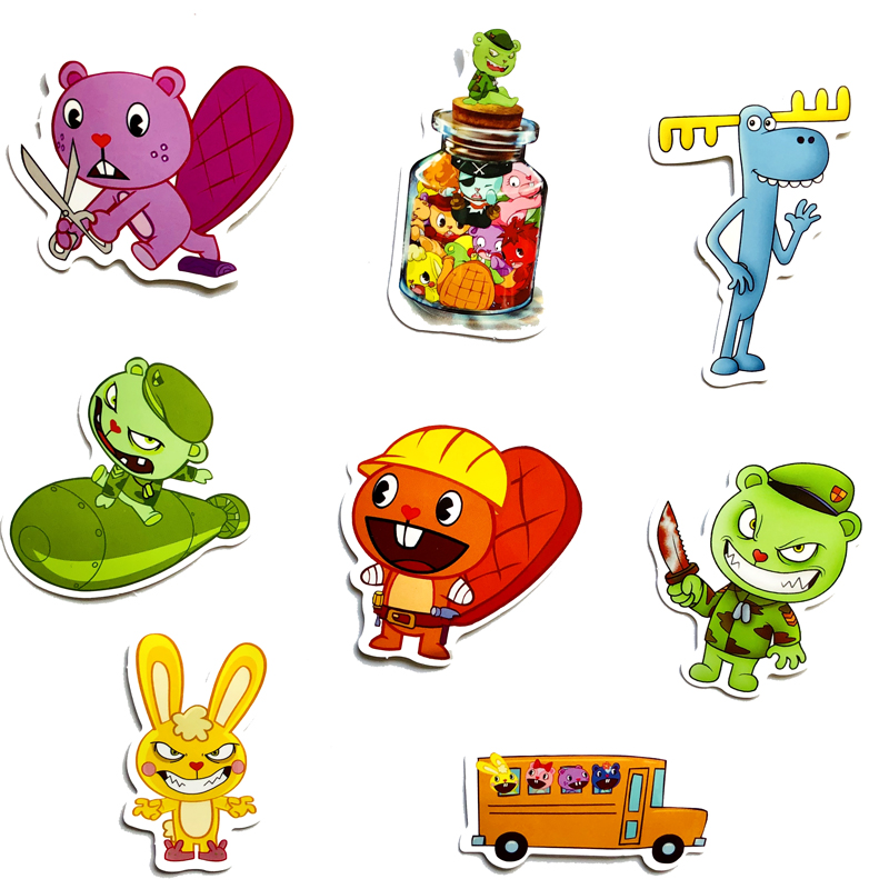 8pc/lot Happy Tree Friends Kids Toys Brand Graffiti Stickers Scrapbooking Skateboard Waterproof Pvc Laptop Luggage Stickers Pack Shrink-Proof Home