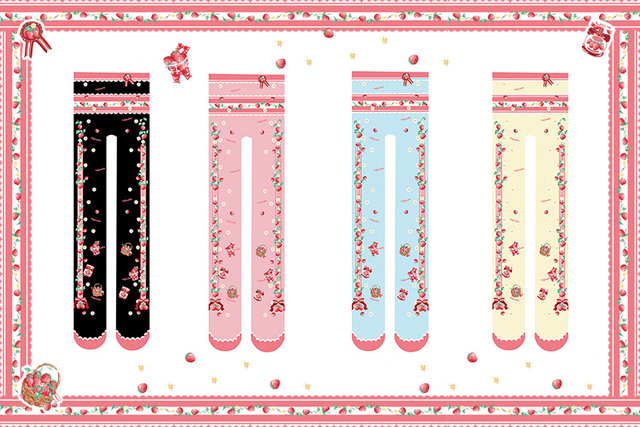Princess sweet lolita pantyhose for height 150-168cm Japanese girl joker strawberry sweet printed pantyhose LKW34