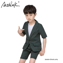 ActhInK 2019 New Design 2Pcs Boys School Yniform Suit Plaid Blazer Shorts+Coat For Boy Formal Waistcoat