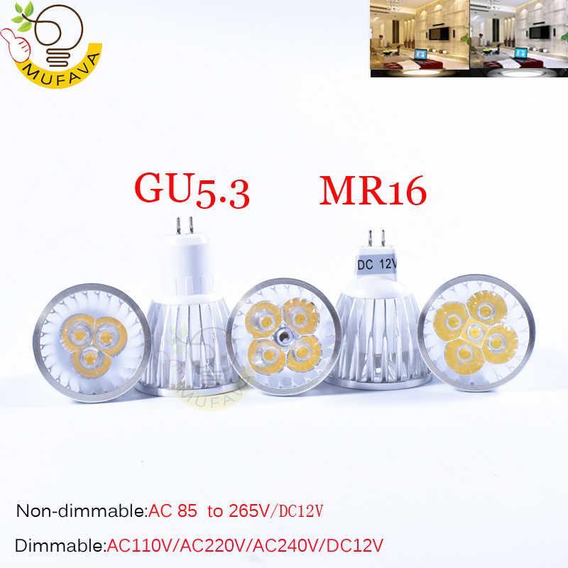 Ultra brillante 9W 12W 15W GU10 MR16 E27 E14 bombilla LED 85-265V focos Led regulables cálido/Natural/lámpara blanca fría 110V 220V DC 12V