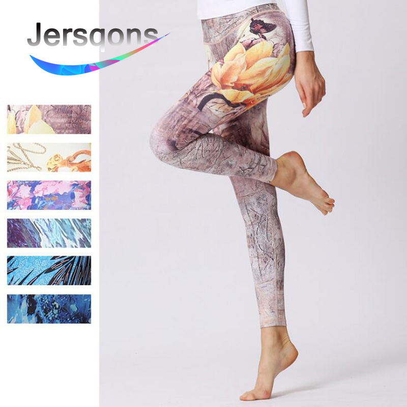 Jersqons Women Sport Waist Yoga Leggings Compression Pants Gym Clothing Fitness Running Floral Print Tights