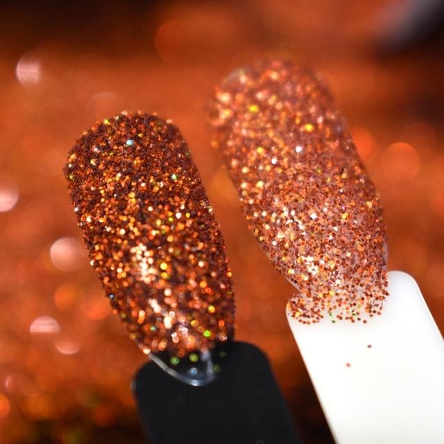 Diy Gel Polish Large Nail Art Glitter Holo Rainbow Deep Orange Acrylic Nails Powder In
