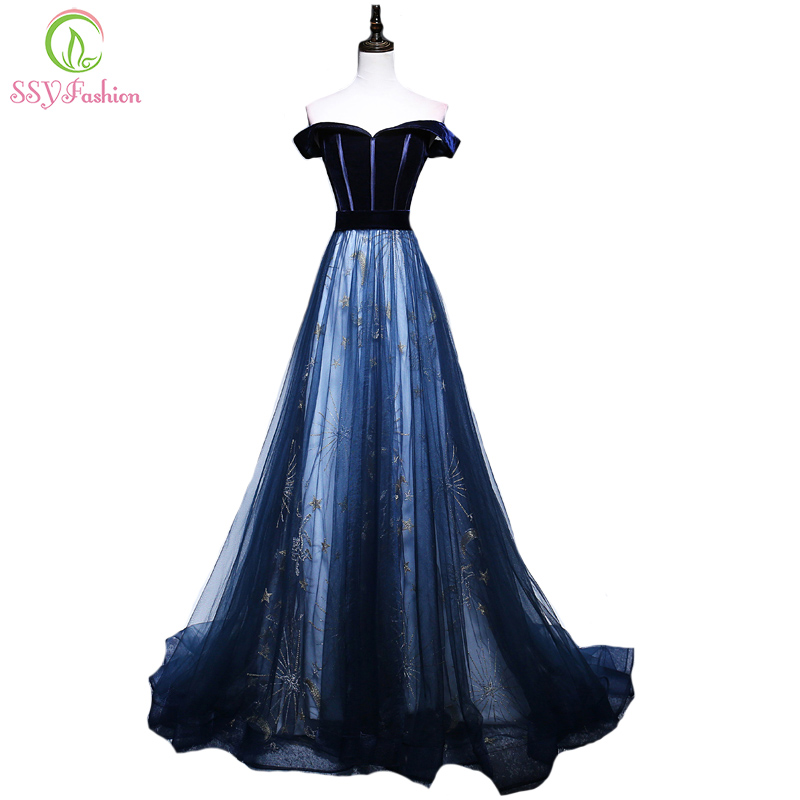 SSYFashion New Elegant Long Evening Dress Boat Neck Blue Velvet With Tulle Stitching Starry Pattern Party Prom Gown Custom Size