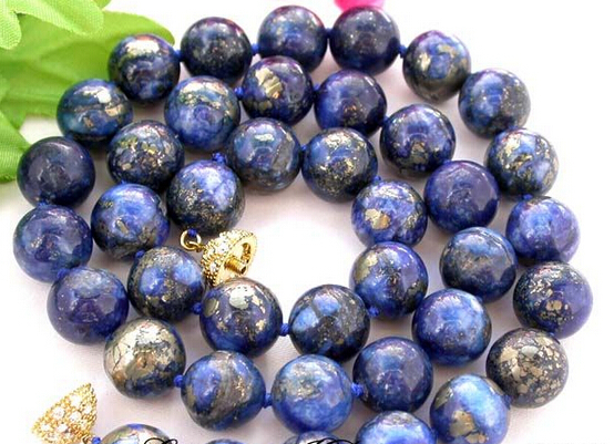 купить Hot sale Free Shipping>>AAA 18 12mm nature round lapis lazuli necklace