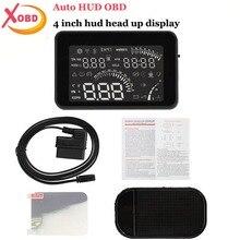 W03 4 Дюймов Автомобиля HUD Head Up Цифровой ЖК-Дисплей OBD II Голосовой интерфейс/Скорость/Температура Двигателя/КМ/ч & MPH Превышение Скорости предупреждение