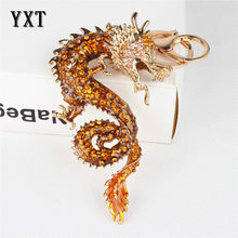 New Zodiac Chinese Long Dragon New Cute Crystal Charm Pendant Purse Bag Car Key Ring Chain Wedding Party Creative Gift(China)