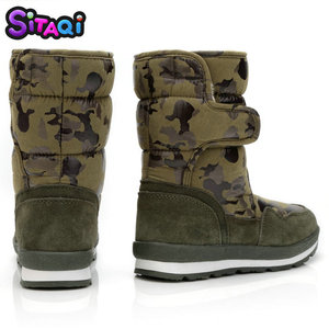 Image 2 - Boys shoes boots camouflage winter style full plus size 27 to 41 snow boot antiskid sole children warm thick fur free shipping