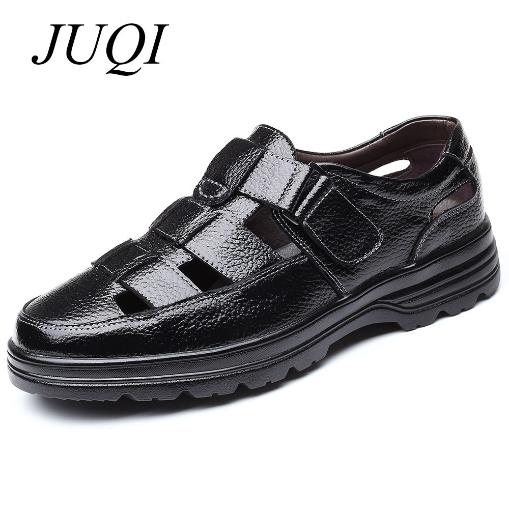 JUQI Genuine Leather Men Summer Sandals Breathable Casual Shoes Hollow Out Driving Slip On Moccasins Big Size