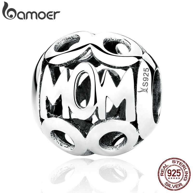 BAMOER Christmas Gift 100% 925 Sterling Silver MOM Pendant Charms for Mother Fit Women Bracelets & Necklace Fine Jewelry SCC060