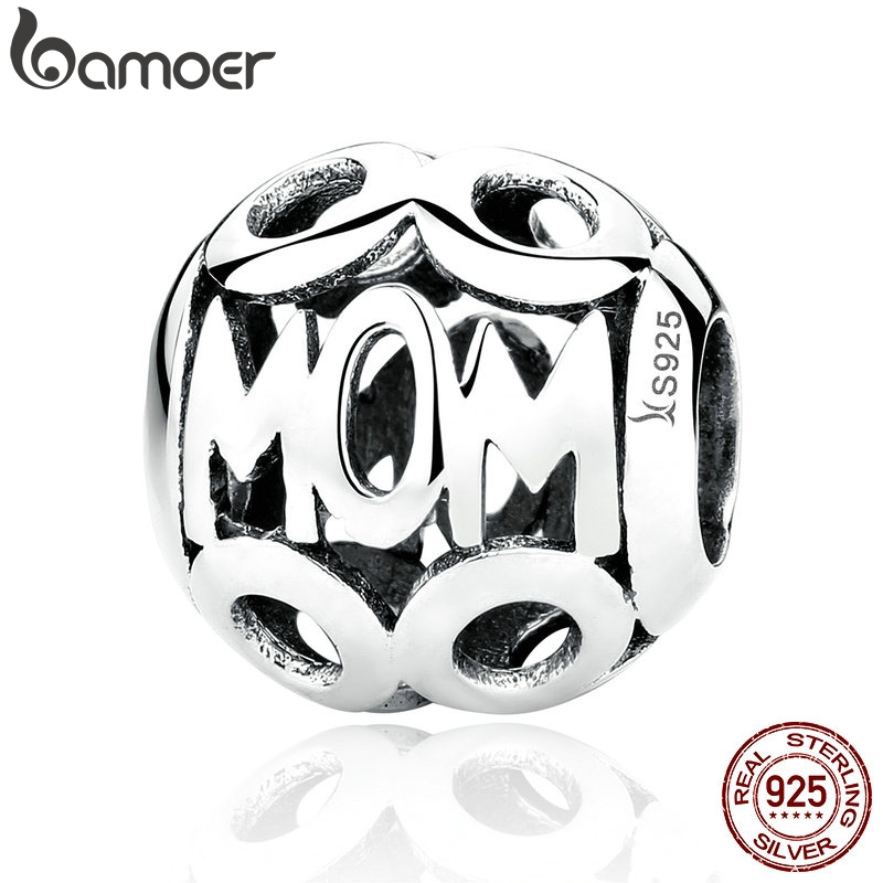 BAMOER Christmas Gift 100% 925 Sterling Silver MOM Pendant Charms for Mother Fit Women Bracelets & Necklace Fine Jewelry SCC060BAMOER Christmas Gift 100% 925 Sterling Silver MOM Pendant Charms for Mother Fit Women Bracelets & Necklace Fine Jewelry SCC060