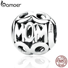 BAMOER Christmas Gift 100% 925 Sterling Silver MOM Pendant Charms for Mother Fit Women Bracelets & Necklace Fine Jewelry SCC060(China)