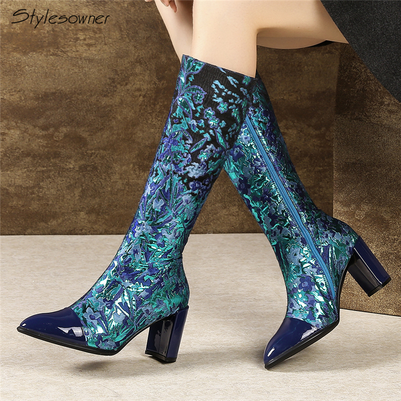 Stylesowner Women Winter Zipper Mid Calf Boots Sexy Embroidery Chunky High Heel Botas Mujer Pointed Toe Patchwork Fashion BootsStylesowner Women Winter Zipper Mid Calf Boots Sexy Embroidery Chunky High Heel Botas Mujer Pointed Toe Patchwork Fashion Boots