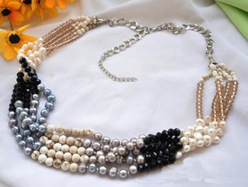 Perfect Handmade Luck Jewellery,5Rows 26-30inches White Black Gray Genuine Pearl Faceted Crystal A-gate Necklace