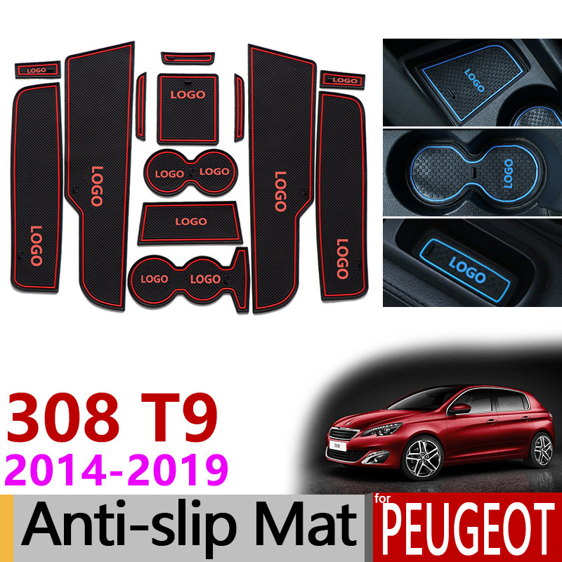 Anti-Slip Gate Slot Mat Rubber Coaster for Peugeot 308 T9 2014 2015 2016 2017 2018 2019 Accessories Stickers Second generation