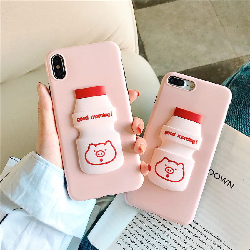 Cute Case for iPhone XR XS MAX X 8 Plus 7 Luxury cartoon Phone Cover for iPhone 7 6 6S Plus case TPU Shell 3D Yogurt bottle