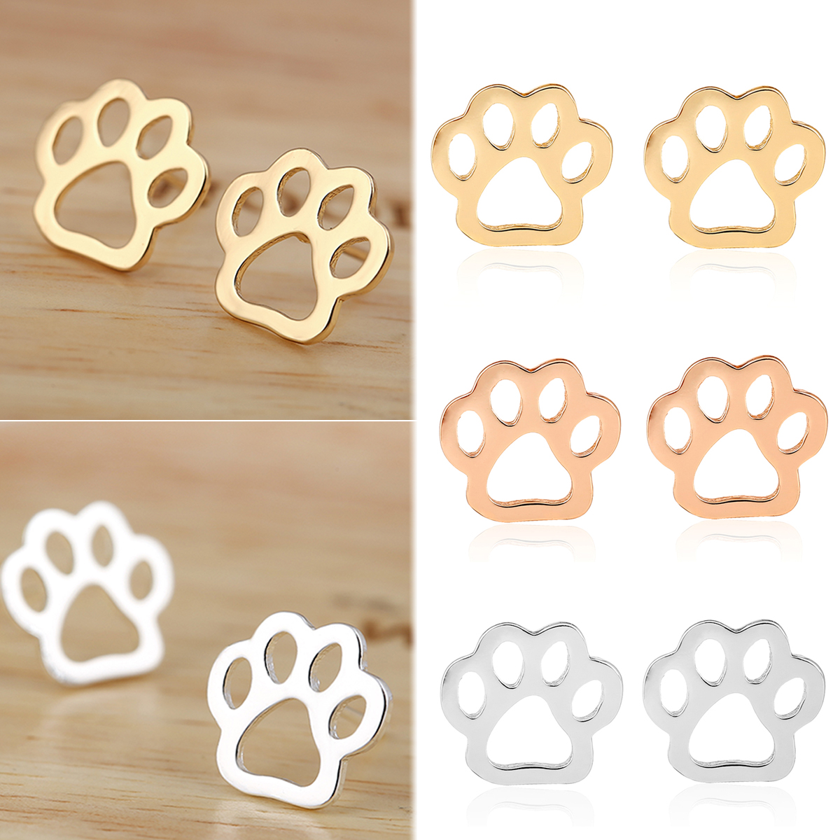 silver paw earrings real of dog products mix stud collections print colourful sterling cc womans copy