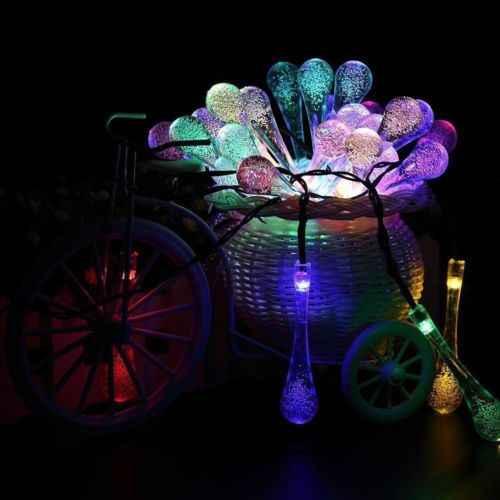 20LED Солнечный Мощность Фея капли воды свет шнура Сад Красочные лампы вечерние Свадебные украшения аксессуары для украшения дома