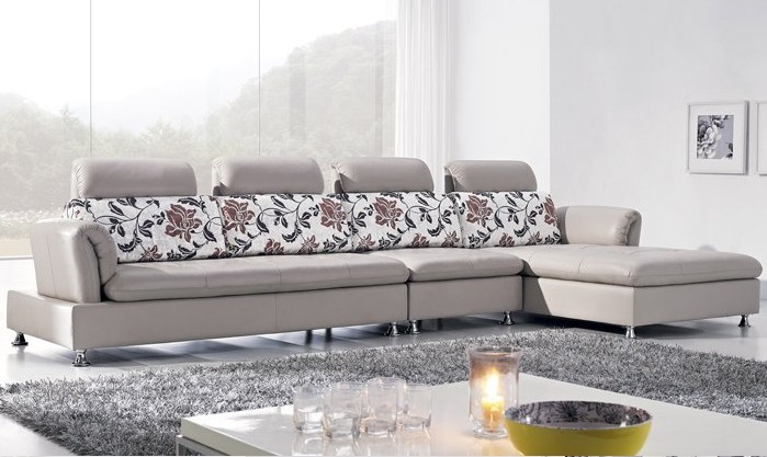 Free Shipping Italy Design Luxury Top Grain Leather Corner Sofa