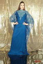 Elegant Women Beadings Blue Long Sleeve Long Evening Dresses Arabic Style Fancy Farasha Jalabiya font b
