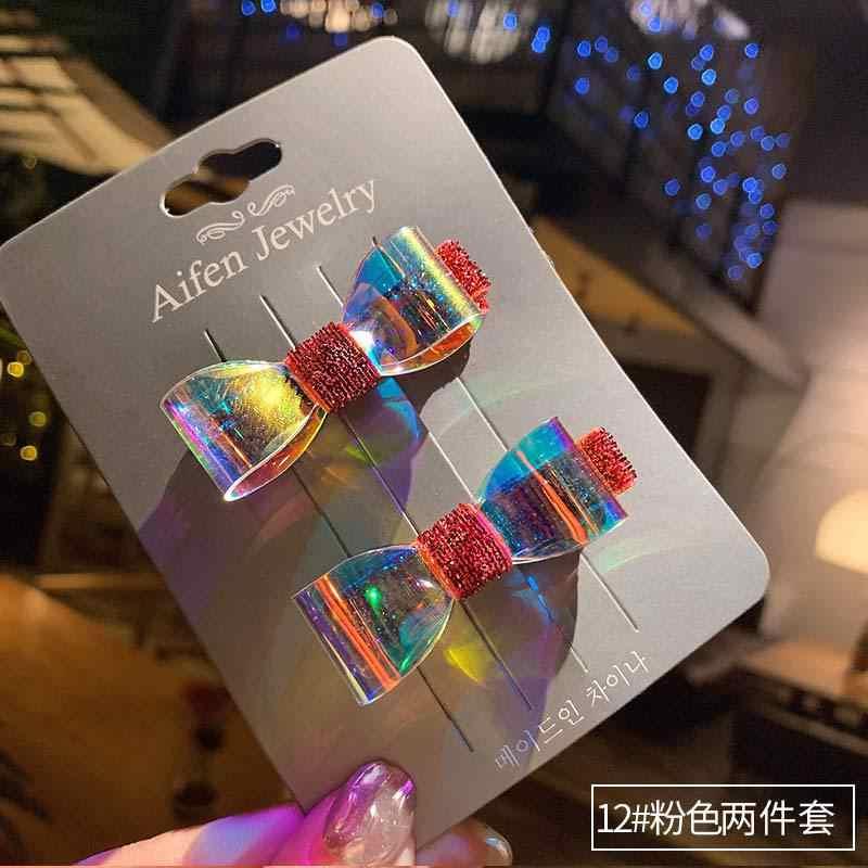 AHB 1-2 шт./компл. корейские сланцы с бантом для девочек с яркой блестящей бумагой Заколки для волос Водонепроницаемый прозрачный бант заколка для волос, для маленьких принцесс, Головные уборы
