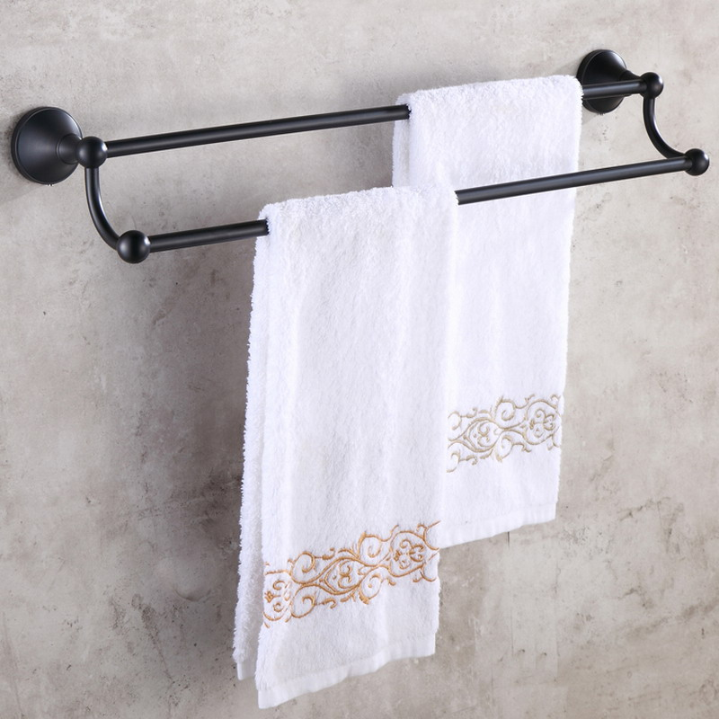 Oil Rubbed Bronze Bathroom Double Towel Bar Wall Mounted Towel Rack Bathroom Accessories KD861 in Towel Bars from Home Improvement