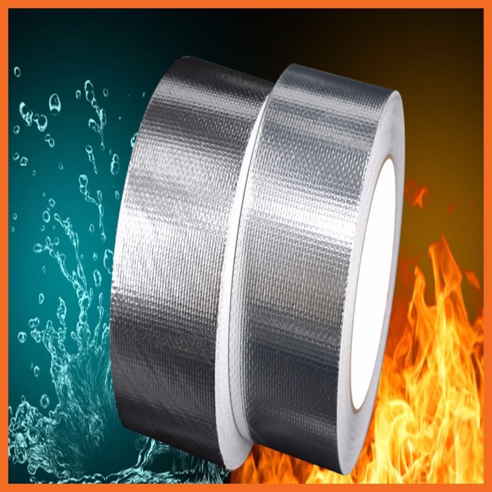 Glass fiber Silver Aluminum Foil Heat Shield Tape Roll Silver Aluminium Foil Adhesive Sealing Tape Heating Duct Repairs waterproof seam sealing tape roll satellite self amalgamating rubber sealing tape sealing cable repair lead