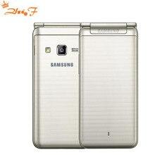 new Original Samsung Galaxy Folder G1600 (2016) Dual SIM LTE Cellphone Quad Core 480×800 1.4GHz 16GB ROM 2GB RAM 3.8″ inch Phone