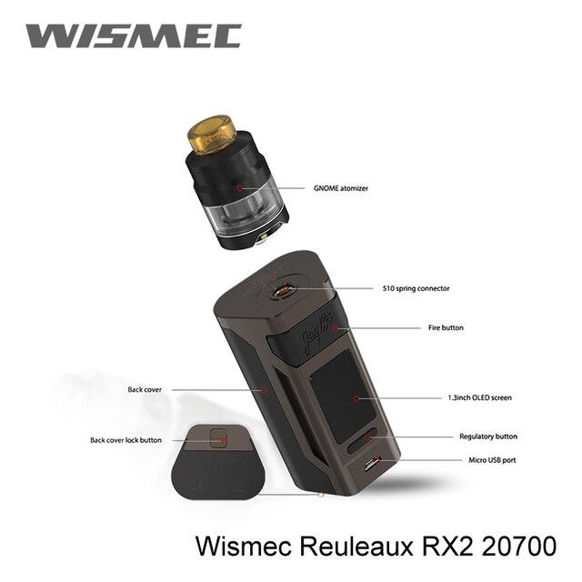 100% Оригинальные Wismec Рел RX2 Mod 200 Вт RX2 20700 коробка MOD только электронная сигарета Vape 1,3 дюймов дисплей vape mod Rx2/30